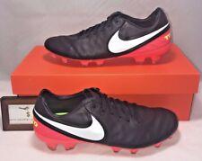 Nike Mens Sz 10.5 Tiempo Legend Legacy II Fg Black Crimson Leather Soccer Cleats