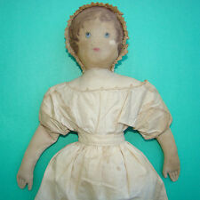 Old Moravian Church Benefit Cloth Rag Doll Polly Heckewelder Painted Face 18in