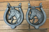 2 Horse Head Door Handles Pulls Knocker Rustic Western Horseshoe Barn Cast Iron