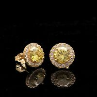 1.25CT Halo Round Cut Citrine & Diamond Women Stud Earrings 14k Yellow Gold Over