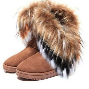 Women Snow Boots Faux Fur Ankle Boots Warm Winter Casual Flat Boots Woman Shoes