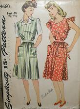 Vintage 1940s Simplicity 4660 Plus Size Pinafore Apron Pattern sz 44B