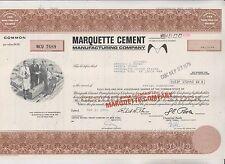 1976 Marquette Cement Manufacturing Company Stock Certificate - Delaware