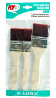 Pebeo Pop Art Oil & Acrylic Brown Polyamide Spalter Brushes 3 Size Pack