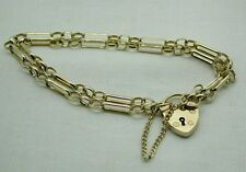 Beautiful 9ct Gold Fancy Link Bracelet With Heart Padlock Fastener