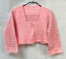 Gilet liseuse vintage tricot ajouré rose 7 / 8 ans