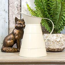 2 x 23cm Jugs Cream Enamel Pitchers Retro Vases Flower Pots Wedding Centre Piece