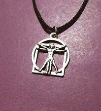 Vitruvian Man Leonardo Da Vinci Antique Silver Pendant Adjustable Necklace