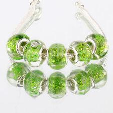5pcs 925 silver plated MURANO glass bead LAMPWORK fit European Charm Bracelet