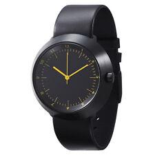 """Normal Timepieces """"Fuji"""" Quartz Acier IP Brossè Noir Ambre Cuir Homme Montre"""