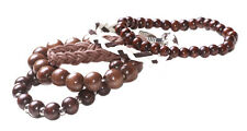 5 pack -3 chocolate brown beads,1 monochrome & 1 brown braided bracelet(ZX236)