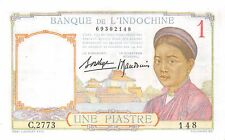 France Indo-China 1 Piastre 1936 Xf with 8 serial numbers Pn 54b.1