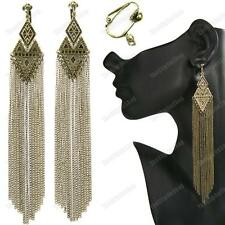 "CLIP ON 6""long AZTEC CHAIN EARRINGS 15cm FRINGE antique/vintage brass CHANDELIER"