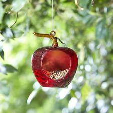 Red Apple Hanging Glass Bird Seed Feeder Garden Tree Bush Decoration