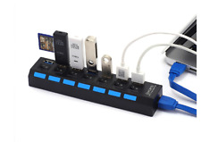 7 Port USB 3.0 Multi Charger Hub + High-Speed Adapter ON/OFF Switch Laptop PC