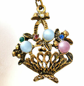 Vintage Rhinestone Key Chain Basket of Flowers Moon Glow Beads Faux Pearls