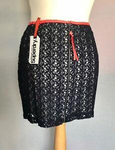 "SUPERDRY Havana Crochet Lace Party Mini Skirt Lined 28"" Waist Navy Blue BNWT"