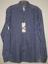 "SCOTT JAMES Long Sleeve Button Front Shirt Small 15"" x 38cm Navy/Striped NWT!"
