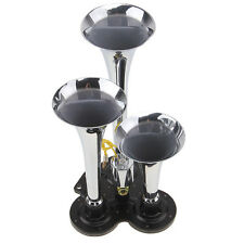 12V 150db Loud 3 Triple Trumpet Air Horn Horns Car Truck Train Boat Motorcycle