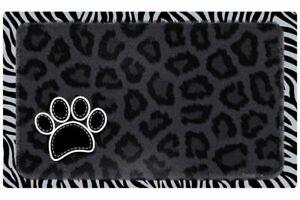 "Dog or Cat Placemat 12"" x 20""  Pet Mat Waterproof, Leopard & Zebra"