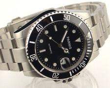 Parnis 40mm black dial Ceramic Bezel sapphire glass automatic mens watch 999