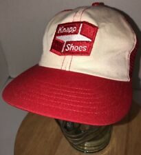 VTG KNAPP SHOES 70s 80s USA Red White Trucker Hat Cap Snapback Boots RARE PATCH