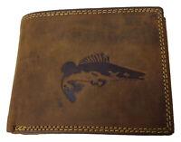 Echt Büffel-Leder Geldbeutel Sternzeichen Fisch - Geldbörse Horoskop