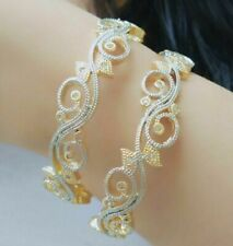 Gold Plated American Diamond India Bangle Bracelet Indian Lady Party BOLLYWOOD