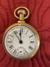 Westclox Engraved Train Locomotive Pocket Watch Gold Tone Wind Up