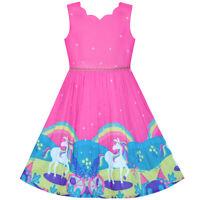 Sunny Fashion Robe Fille Licorne Arc-en- Sans Manches Rose Profond Princesse