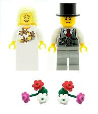 LEGO Wedding Bride & Groom Minifigures with 2 Boquets of Flowers NEW
