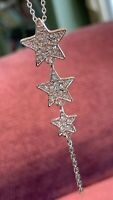 Vintage Signed Rhinestone 3 Star Dangle Pendant Necklace Silver Tone 18""