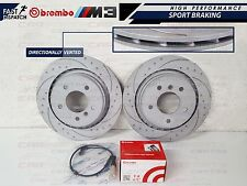 BMW E36 M3 EVO REAR DIMPLED AND GROOVED BRAKE DISC DISCS BREMBO PADS WEAR SENSOR