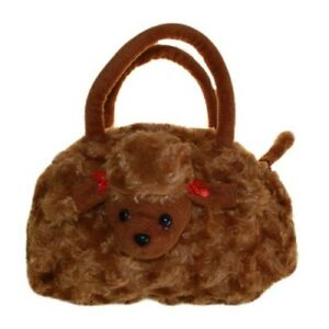 Chocolate Fluffy Poodle Bag for kids - Small Puppy shoulder bags for girls gifts