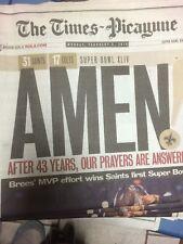 New Orleans Saints Super Bowl News Paper Times Picayune Unread Entire Newspaper