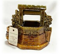 Sweet Vtg McCOY ART POTTERY Oh WISHING WELL Grant A Wish PLANTER with CHAIN