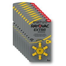 RAYOVAC EXTRA ADVANCED PR70 Zinc Air Hearing Aid Batteries YELLOW TAB Size 10 1.