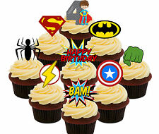 4th Birthday Superhero Edible Cup Cake Toppers, 36 Boys Stand-up Bun Decorations
