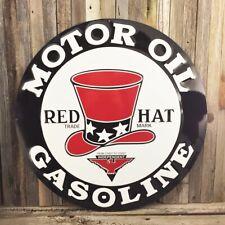 "Red Hat Gas Motor Oil Large 24"" Round Metal Tin Sign Mechanic Vintage Garage New"