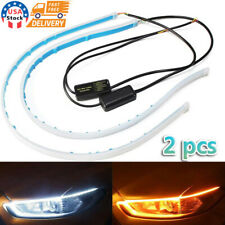 2 x 60CM LED DRL Light Amber Sequential Flexible Turn Signal Strip for Headlight