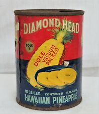 1920's Tin Can With Paper Label - Diamond Head Hawaiian Pineapple      (19)