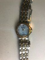 RAYMOND WEIL LADIES MINI TANGO Two Tone Watch w/ Diamonds Mother of Pearl Dial