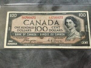 1954  Bank of Canada  $100 Devil's Face Banknote  (Coyne/Towers).