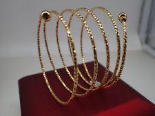 Ladies Women 18k 18ct Yellow Gold Solid Spring Bangle Bracelet 65 mm