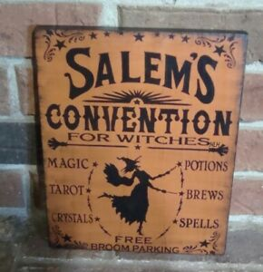 "PRIMITIVE STYLE HALLOWEEN WOOD SIGN ""SALEM'S CONVENTION FOR WITCHES"" HP ORANGE"
