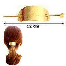 Barrette coque en métal doré avec pique chignon 12 cm  Accessoire cheveux Mode