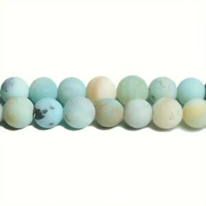 Multicolour Amazonite Beads Plain Round 6mm Frosted Strand Of 62+