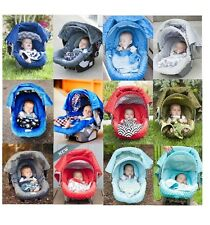 WHOLE CABOODLE CarSeat Canopy 5pc Set For Boy Infant Car Seat Cover Blanket NEW
