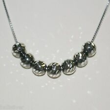 Rhodium Plated Sterling Silver 925 Box Chain with 7 pieces 6mm Diamond Cut BEADS