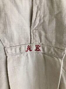 Antique French RUSTIC peasant LINEN man shirt SMOCK AE mono c 1880